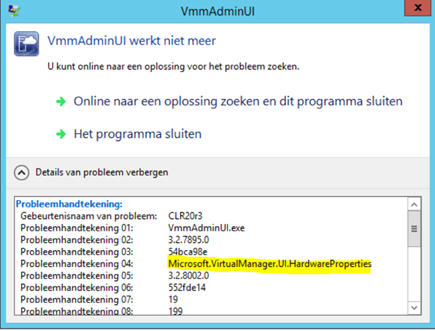 Localized VMM 2012 R2 UR6 Console crash when changing/creating